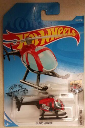 2019 Hot Wheels Island Hopper 208//250 HW METRO 9//10 News Helicopter Chopper Red