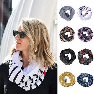 Womens-Warm-Loop-Scarf-Couple-Infinity-Wrap-Hidden-Zipper-Pocket-Travel-Scarves
