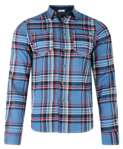 Lee Cooper Long Sleeve Men's Wandsworth Cotton Check Shirt Red Green Blue White