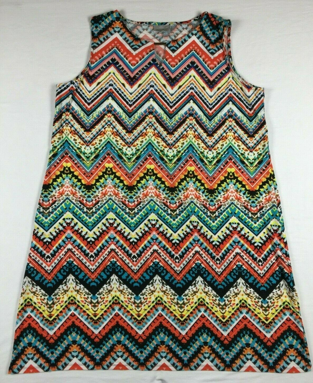 NWT Avenue 26 28 3X Sleeveless Farbeful Chevron Print Dress Polyester & Spandex