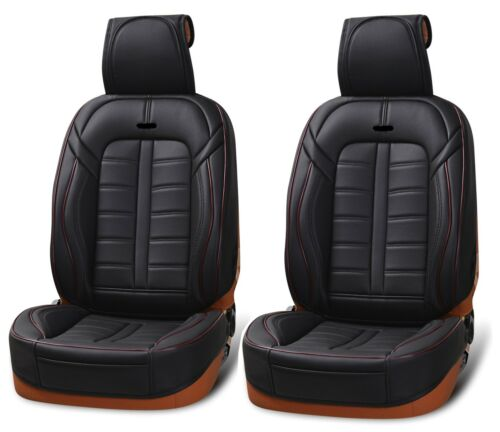 Deluxe 1+1 Premium Black PU Leather Front Seat Covers Cushion For Kia Hyundai