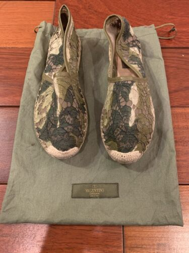 Valentino Green Lace Espadrilles Size 36