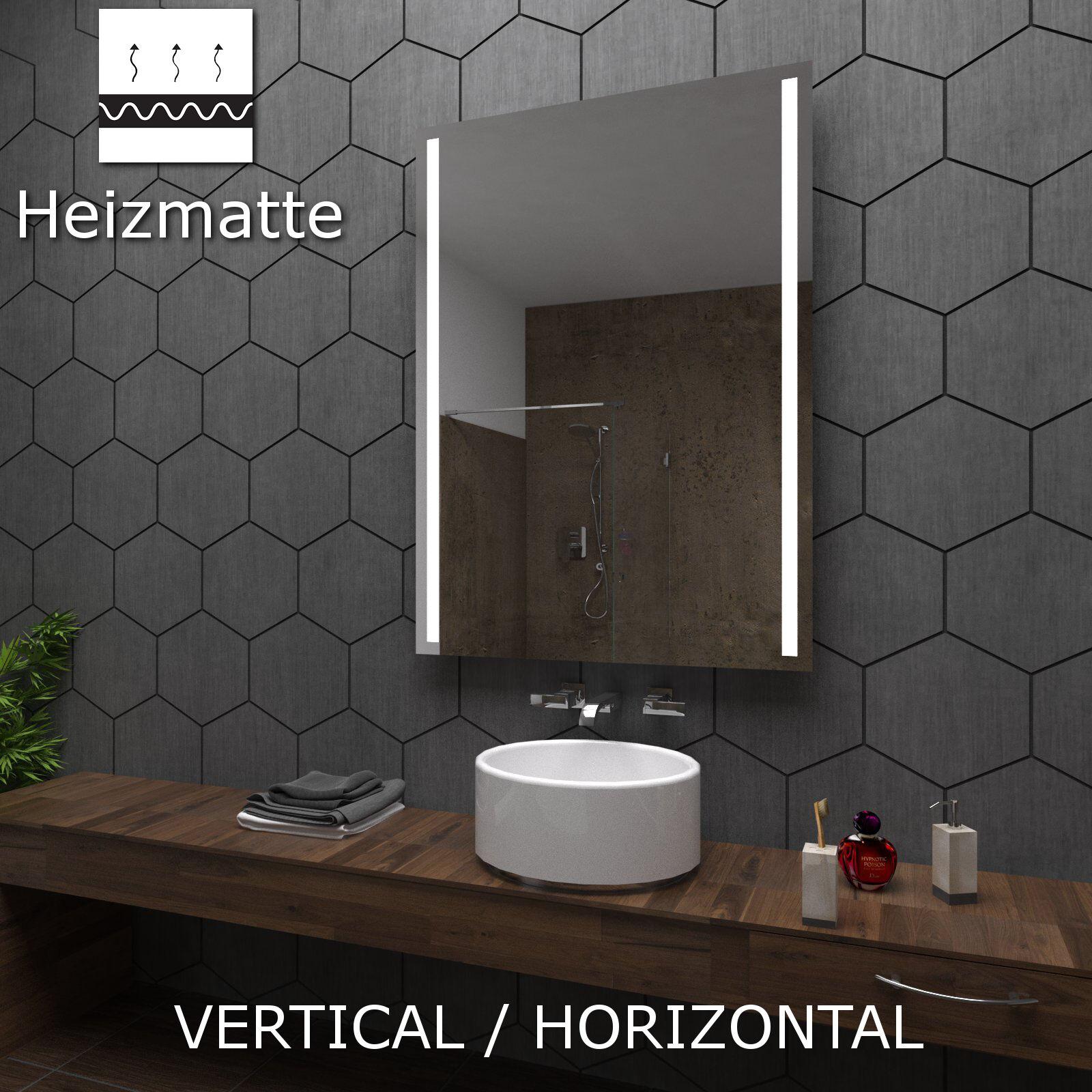 Badspiegel LED mit A02 Model DENVER Heizmatte Maß nach ...