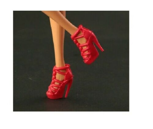 1//6 Barbie Doll Red Strappy Heart High Heel Platform Peep Toe Shoes