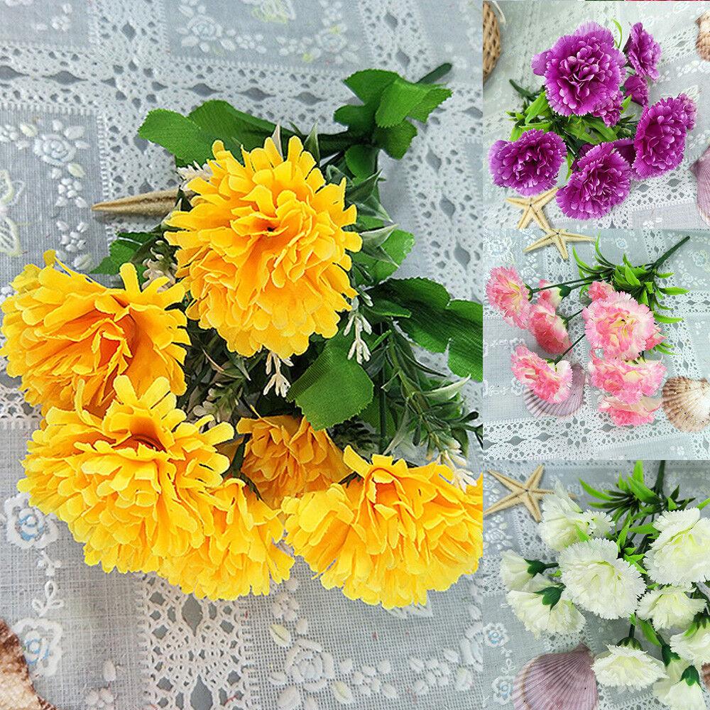 10 Heads Artificial Fake Silk Carnation Flower Bouquet Home Wedding