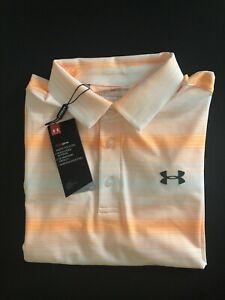 Under-Armour-Men-s-Playoff-Polo-Striped-Golf-Shirt-Orange-S