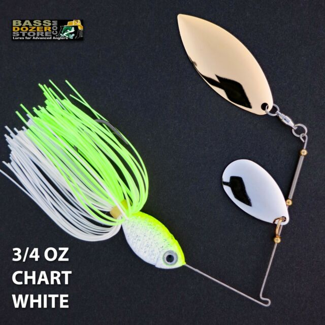 Bassdozer spinnerbaits INDIANA WILLOW 3/4 oz Chartreuse White spinner bait lures