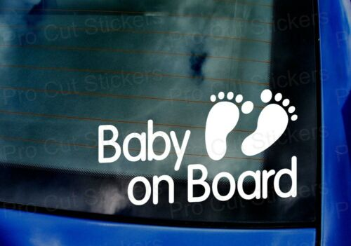 Baby on Board Child Children Car Van Window Bumper Vinyl Die Cut Stickers Decals