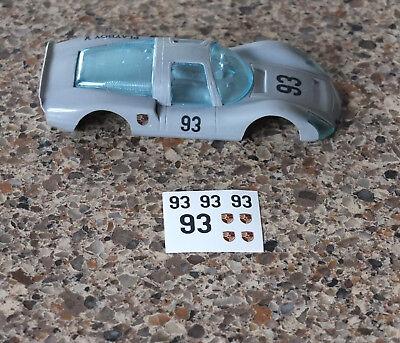 1//32 Strombecker Eldon slot car WATERSLIDE Decal Sheet #93 PORSCHE Carrera