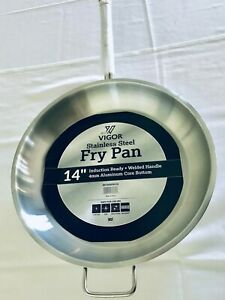 14 Inch Vigor Stainless Steel Fry Pan 4mm Aluminum Core