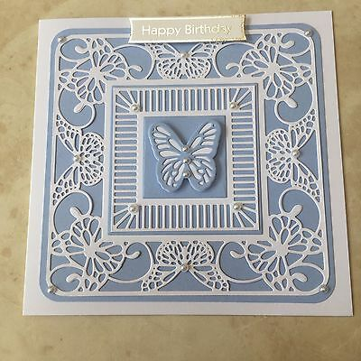 Handmade Happy Birthday card pretty blue /& white butterfly /& swirls faux pearls