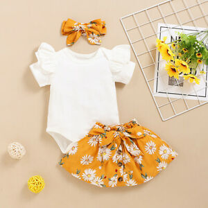 Newborn Baby Girls Summer Clothes Romper Tops+Skirt Dress+Headband Outfits Set
