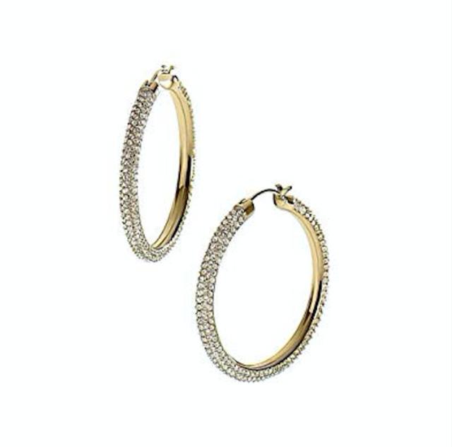 d4f543c555db MICHAEL KORS MKJ2082710 BRILLIANCE Gold Tone Crystals Pave Hoop Earrings  MKJ2082