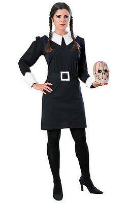 LICENSED ADULT WEDNESDAY ADDAMS FAMILY FANCY DRESS HALLOWEEN COSTUME