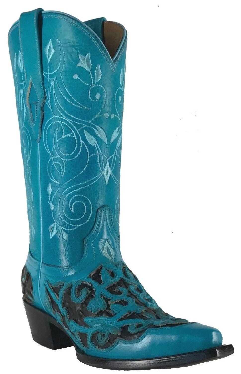 Para Mujeres Nuevo Cuero Vaquera Occidental Biker botas SNIP SNIP botas Azul Negro Venta 36be15
