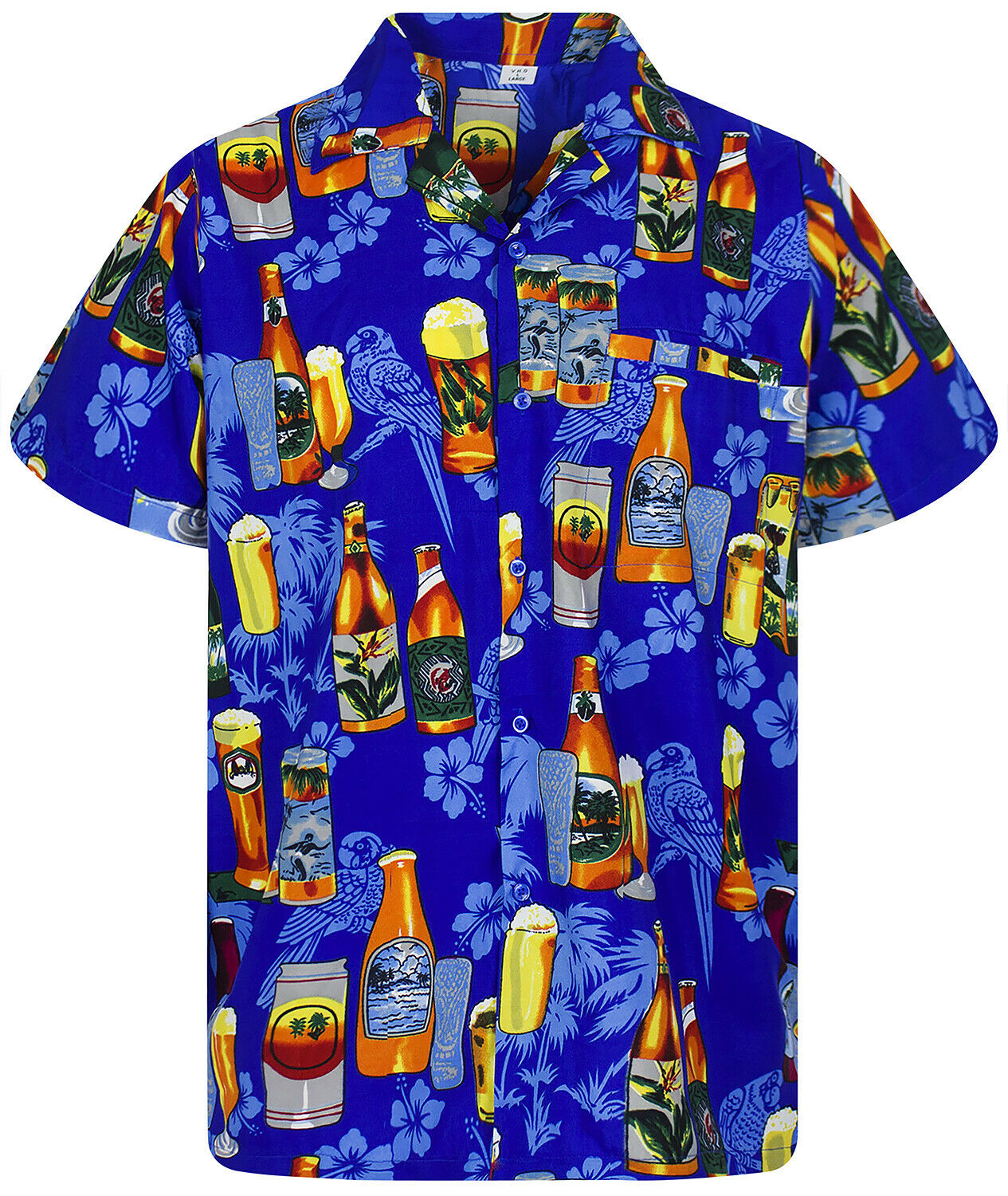 Funky Hawaiian Shirt Beer Bottle bluee Different Sizes