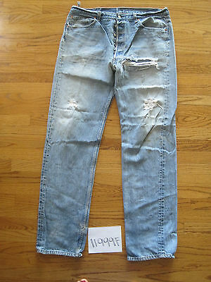 destroyed levi feather 501 usa grunge jean tag 40x38 meas 37x34.5 11999F
