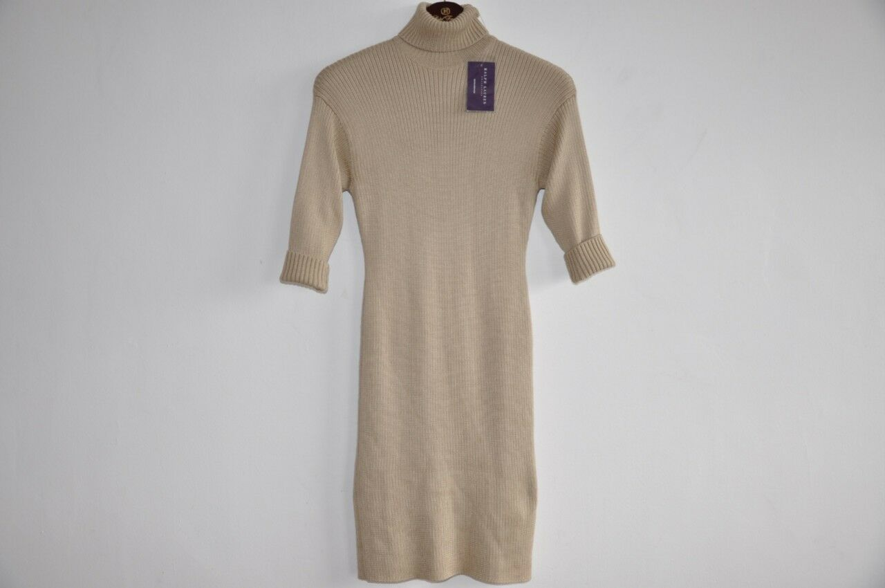Ralph Lauren Collection PURPLE LABEL LABEL LABEL Heavy Silk Cashmere Sweater Dress L b582db