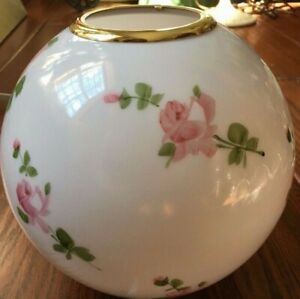 Vintage-Pink-Roses-Painted-Globe-Glass-Shade-for-GWTW-Banquet-Parlor-Lamp
