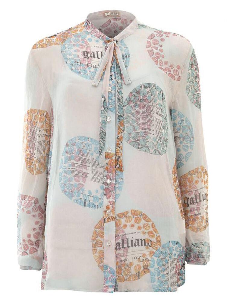 GALLIANO Multi-Colourot 100% Italian Silk Blouse BNWT