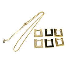 Auth Christian Dior Rhinestone Gold Pendant Necklace Accessory Vintage 03B814