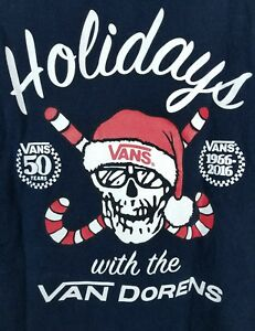 Details about 50 Yrs Vans 2016 T Shirt Happy Holidays Van Doren Collection  Christmas Sz M Blue cd407cfe5