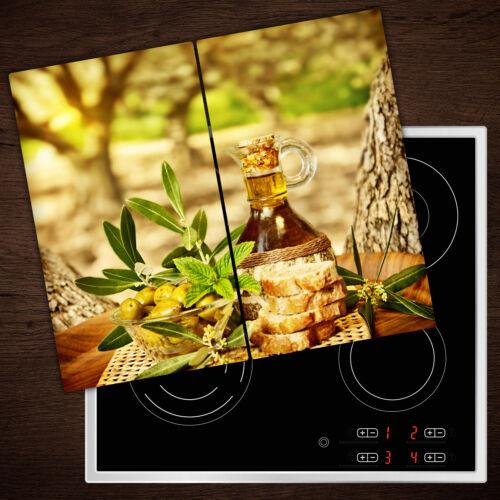 Herdabdeckplatten en verre anti-projections D/'HUILE D/'OLIVE PAIN 2x30x52 cm