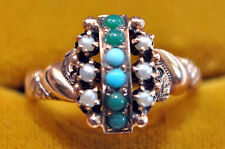Beautiful 10K Solid Gold, Jade, Pearls and Sky Blue Turquoise Ring Size 5 14