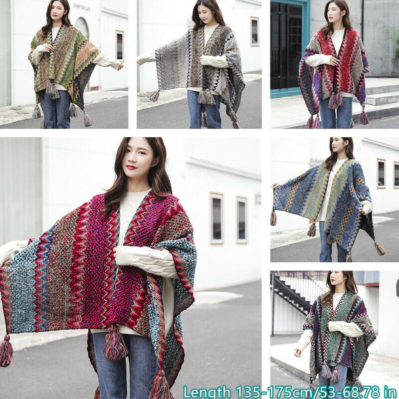 Lady Enthic Knitted Poncho Bohemian Plaid Batwing Tassels Shawl Cape Cloak Warm