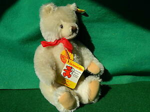 VINTAGE-80s-STEIFF-FIRM-BODIED-JOINTED-BLONDE-MOHAIR-TEDDY-BEAR-BUTTON-ALL-IDS