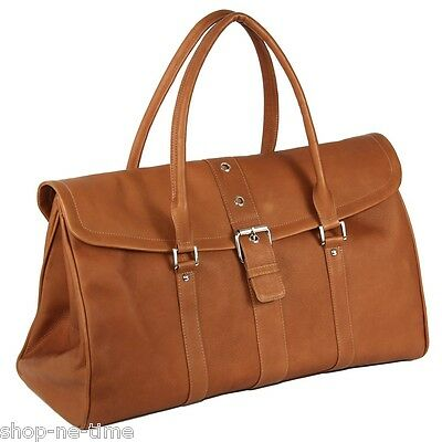 Piel Leather Colombian Full-Grain Leather Buckle Flap-Over Duffel Bag - New