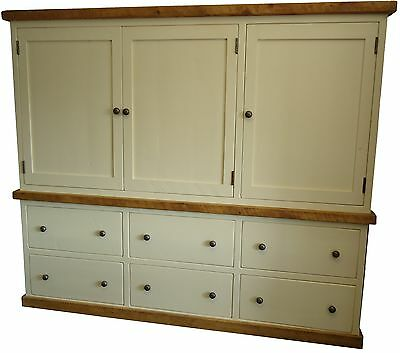 Rustic Painted Kitchen Larder Cupboard.  Freestanding Kitchen Furniture.
