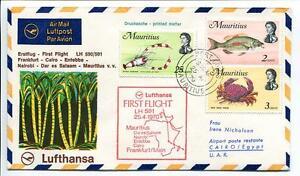 éNergique Ffc 1970 Lufthansa Primo Volo Lh 591 - Framcoforte Cairo Nairobi Mauritius