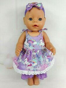 Dolls-clothes-for-17-039-039-Baby-Born-amp-CPK-doll-UNICORN-PURPLE-GLITTER-STRAP-DRESS