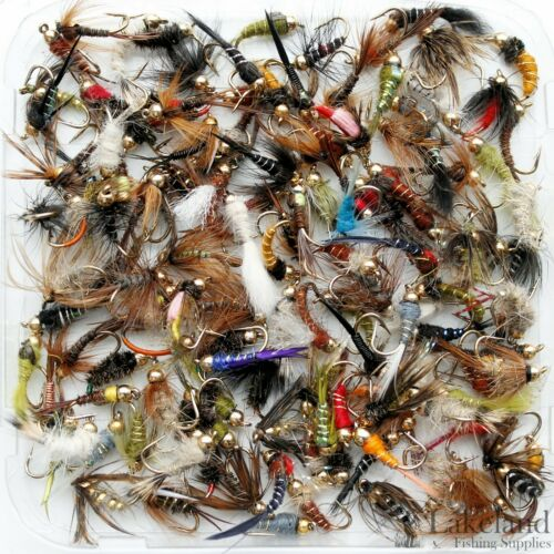 Assorted Mixed Gold Head Nymphs Trout Flies Fly Fishing Size 8 10 12 14 16 18