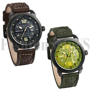 Army-INFANTRY-Mens-Brown-Green-Leather-Quartz-Analog-Sport-Wrist-Watch-Watches