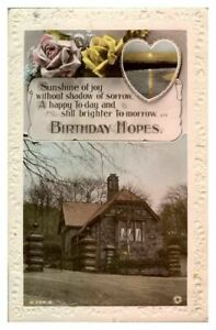Antique-RPPC-real-photograph-postcard-card-Birthday-Hopes-house-landscape
