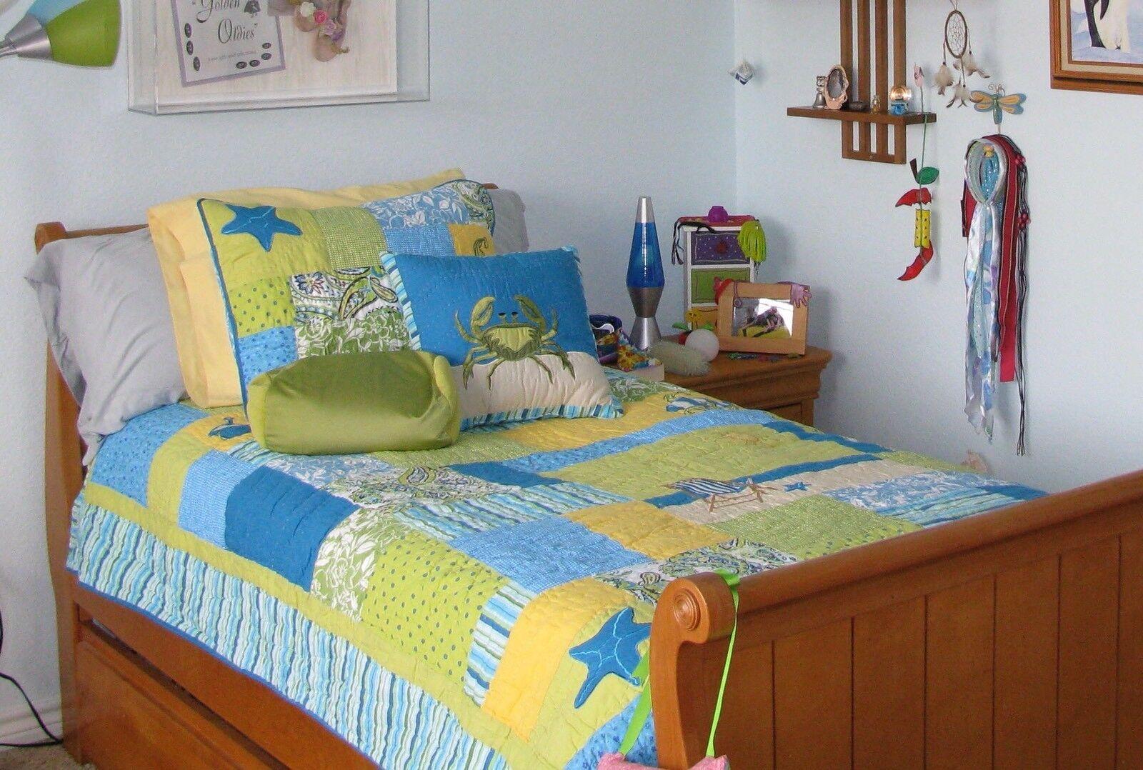 Pottery Barn Kids Twin Quilt Set Sham Skirt Two Pillows