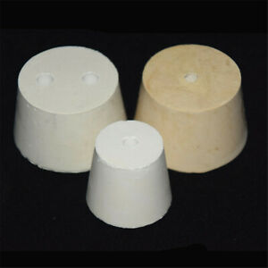 White-Rubber-Flask-Test-Tube-Laboratory-Cone-Stoppers-With-1-2-Holes-Stopper