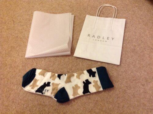 RADLEY LONDON femme crème et vert chien Chaussettes Radley Sac et tissu entièrement neuf sans étiquette