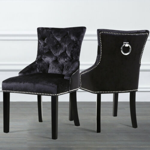 Black Back Ring Knocker Crushed Velvet Fabric Dining Home Chairs Coffee Chair UK