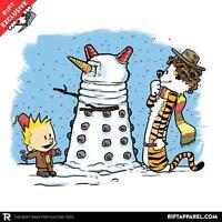 Doctor Who Tardis Dalek 4th 11th Smith Baker Calvin Hobbes Juniors T-shirt S-xl