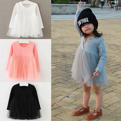 Cute Kids Toddler Baby Girls Long Sleeve Tulle Wedding Party Princess Tutu Dress