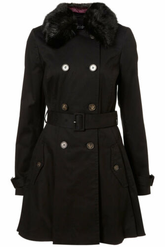 di in New pelliccia in 12 trench con gonna Topshop Uk nero sintetica Colletto REp0qB