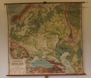 Details zu Schulwandkarte Skandinavien Russland 190x179 ~1910 vintage north  east europe map