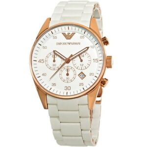 NEW-EMPORIO-ARMANI-AR5920-WHITE-SILICONE-RUBBER-ROSE-GOLD-WOMENS-WATCH-UK