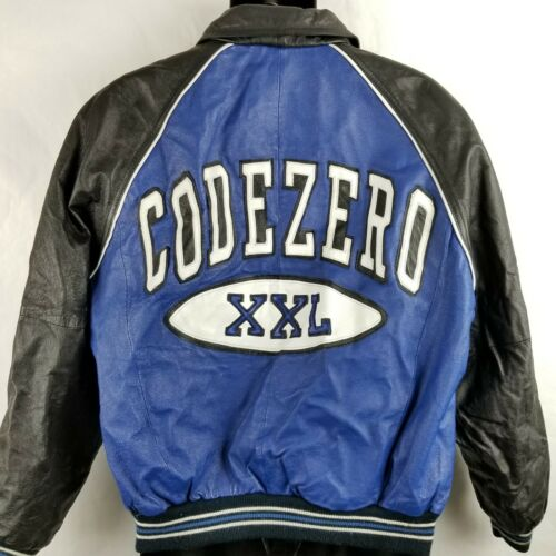 Vintage Code Zero Leather Spellout Bomber Letterma
