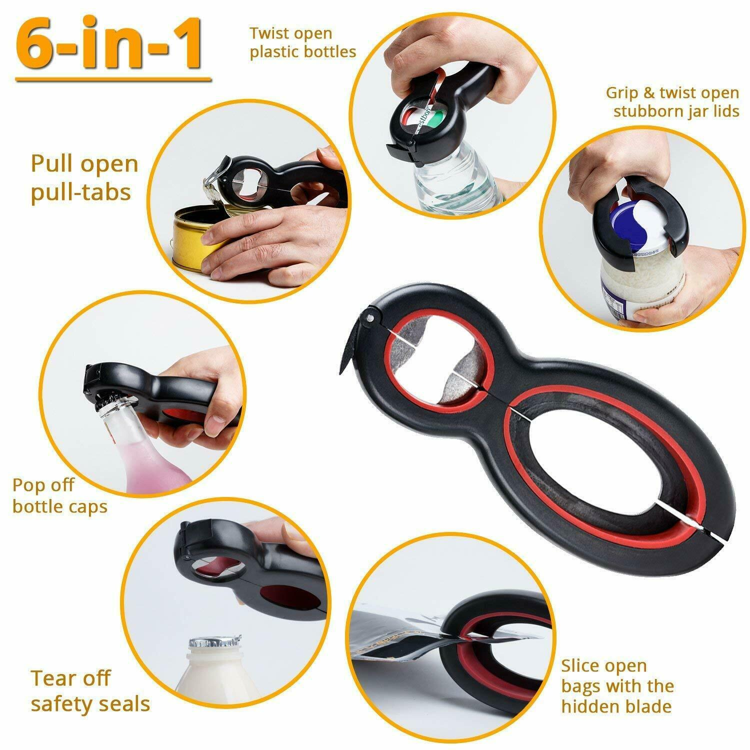 Multifunction Bottle Can Jar Tin Grip Opener,6-in-1 Stainless Steel Portable Beer Wine Bottle Openers,Lid Seal Remover Twist Off,Kitchen Tool for Children Seniors or Arthritic Hands