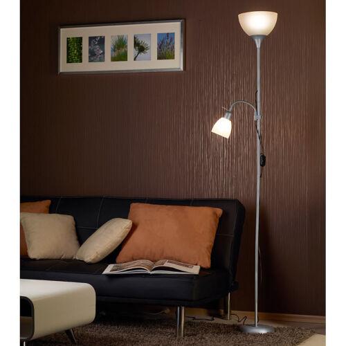 E27//E14 Silber//Weiß Stehlampe E27: Deckenfluter mit Leseleuchte Standlampe