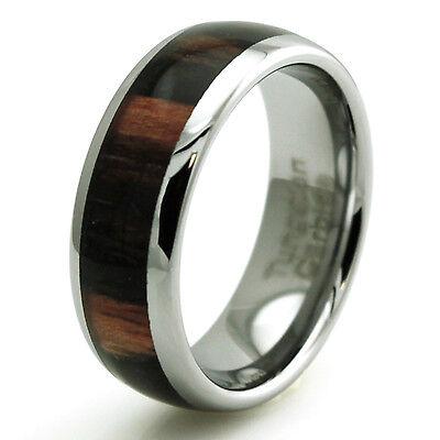Tungsten Carbide Macassar Wood Inlay Wedding Band 8MM